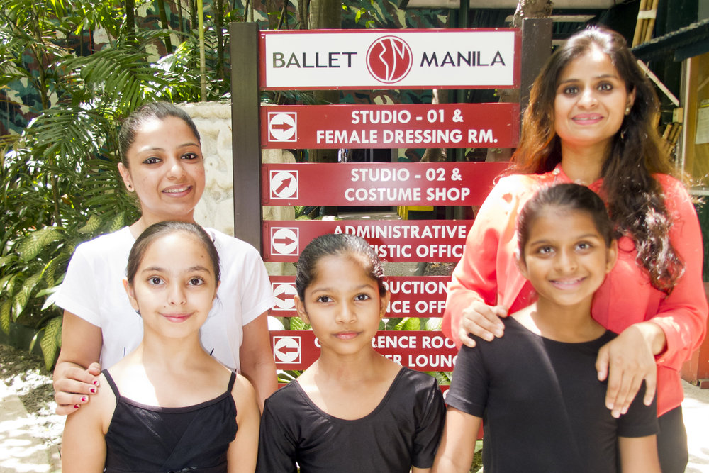 Swara with the girls from India at Ballet Manila's Pasay compound – from left, Nikita Rochlani who is taking a teacher's course, and summer intensive program students Friyana Dahee, Srinika Mudaliar and Dhvani Patel. Photo by Jimmy Villanueva