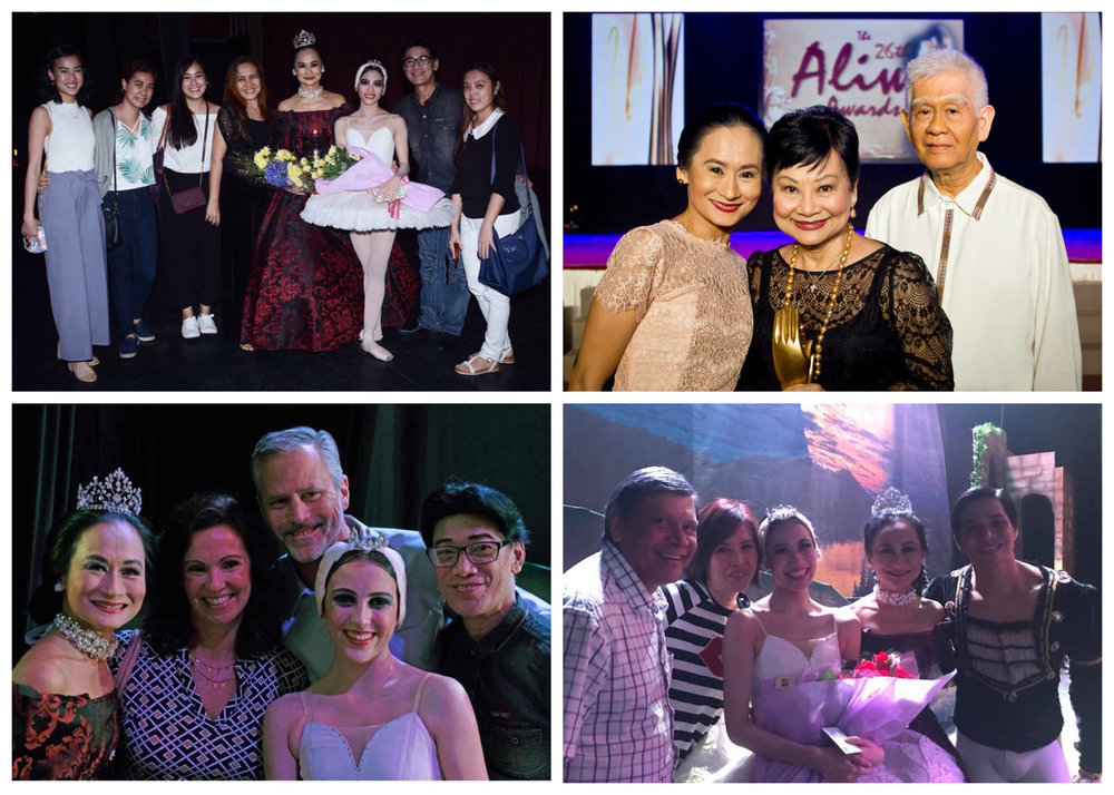 The young principal dancers of Ballet Manila – (clockwise from top left) Joan Emery Sia, Katherine Barkman, and Abigail Oliveiro – also credit the strong support of their families in achieving their ballet dreams. And after over three decades of dancing, Lisa continues to enjoy the unconditional support of her parents (top right) as she moved on from dancing to managing her own company. Photos from the Facebook pages of the dancers