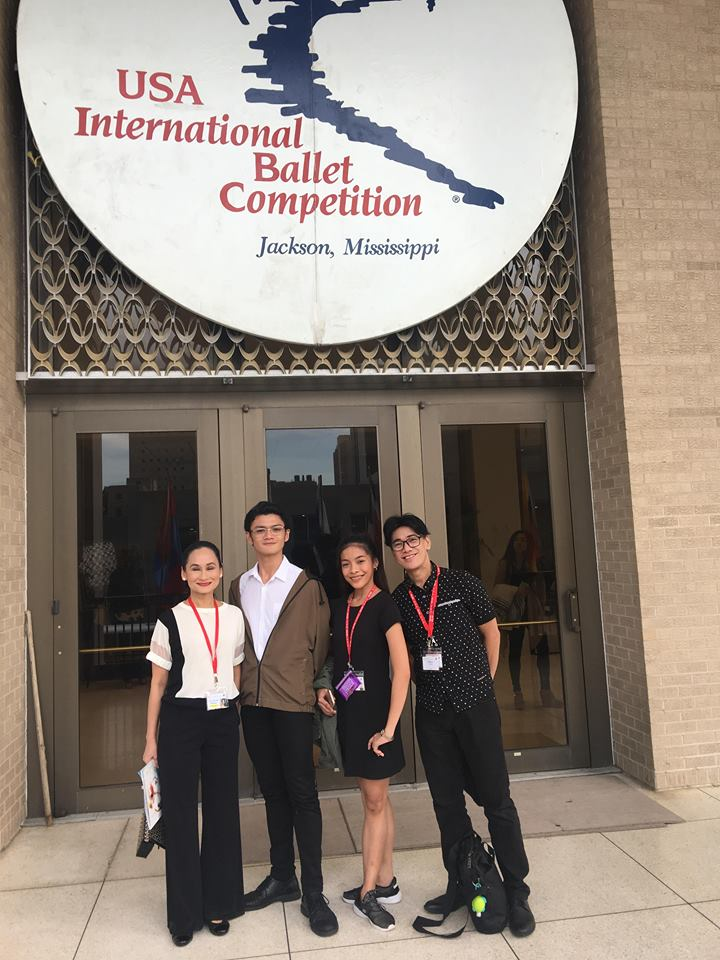 "Ballet Manila co-artistic directors Lisa Macuja-Elizalde and Osias Barroso with Joshua Enciso and Nicole Barroso in front of the Thalia Mara Hall as the junior pair prepare to compete in the ""Olympics of Ballet"". Photo courtesy of Lisa Macuja-Elizalde"