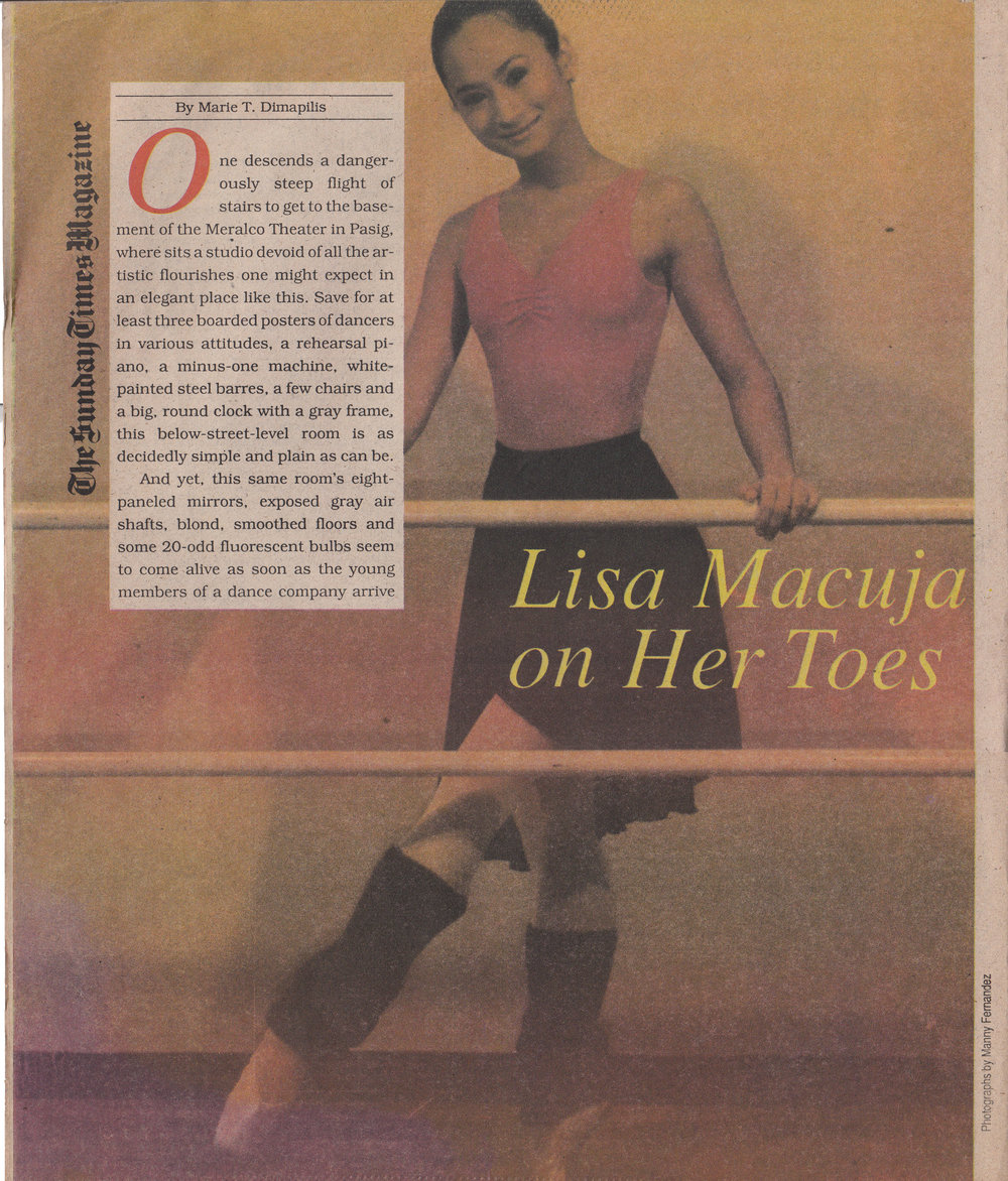 Lisa on Her Toes,  a 1989 cover story of  The Sunday Times Magazine , featured the young ballerina overcoming obstacles on and off the stage through hard work, perseverance, and quick thinking on her toes. Photo from the Ballet Manila Archives