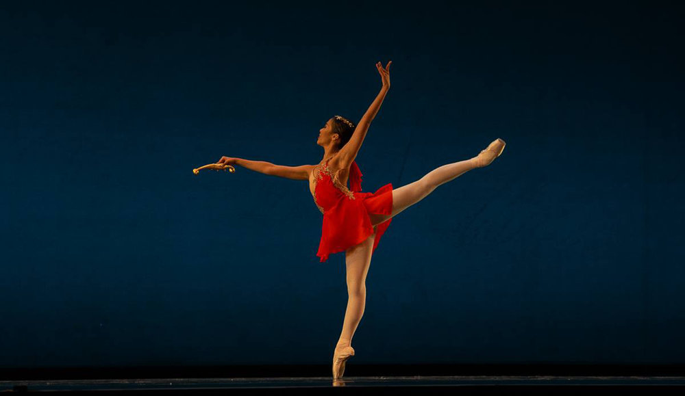 Nicole is exuberant as Diane in    Diane and Acteon   , her classical piece for Round III. Photo by Richard Finkelstein/ USA IBC