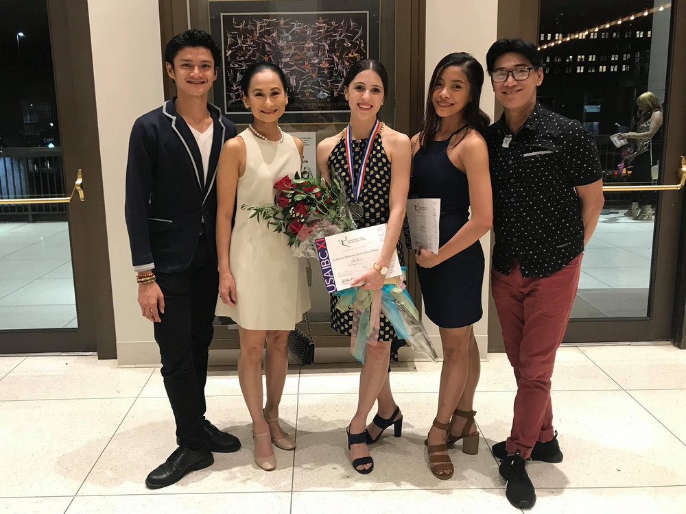 Team Ballet Manila celebrates at the USA IBC's awarding ceremonies Friday night: (from left) company artist Joshua Enciso, artistic director Lisa Macuja-Elizalde, resident guest principal Katherine Barkman, company artist Nicole Barroso and co-artistic director Osias Barroso.