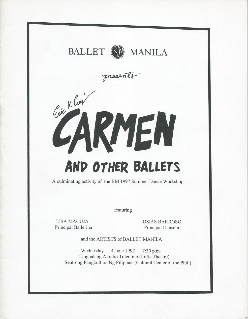 Souvenir program of Ballet Manila's first summer workshop recital. From the Ballet Manila Archives collection