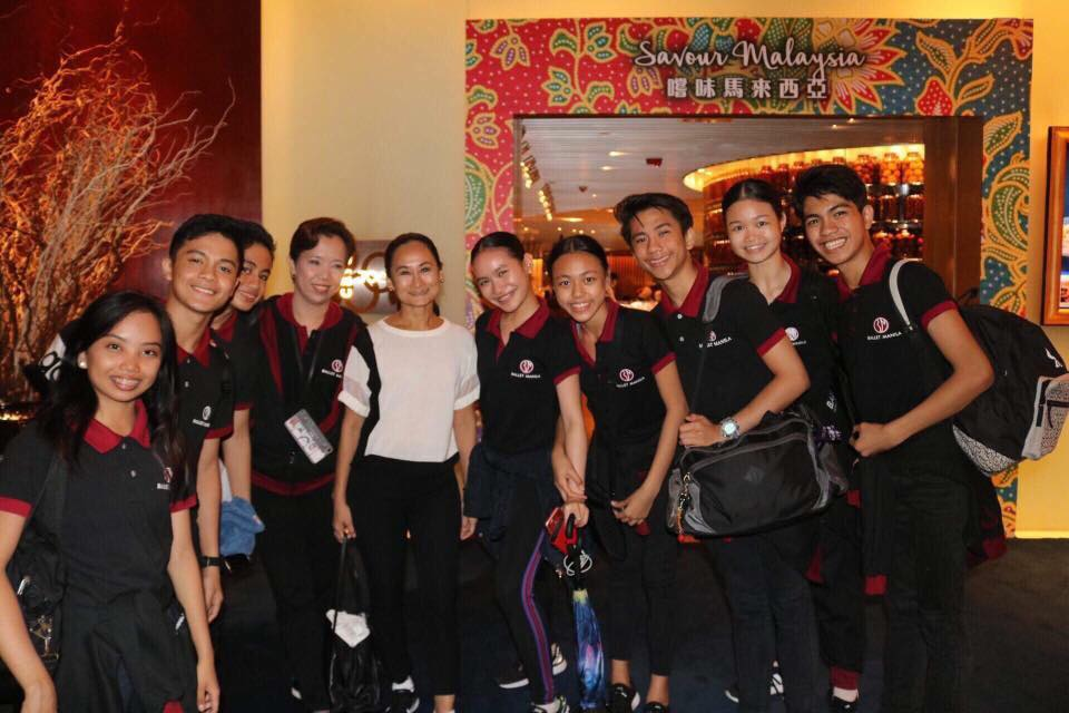 Ballet Manila's Asian Grand Prix delegation in Hong Kong with BM artistic director and BM School director Lisa Macuja-Elizalde (fifth from left) and BM rehearsal mistress and teacher Eileen Lopez (fourth from left): Elyssabeth Apilado, Rafael Perez, Carl Daniel Doromal, Sophia Tiangco, Loraine Gaile Jarlega, Brian Sevilla, Kong Ke Xin and Alvin Dictado.