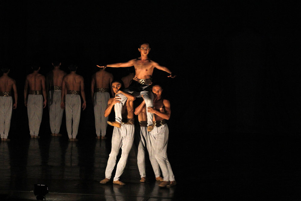 Sean, held aloft here by fellow dancers in Annabelle Lopez Ochoa's    Bloom   , describes the piece as very physically challenging. Photo by Kurt Alvarez