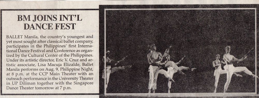 Clipping from    Malaya    newspaper announces Ballet Manila's participation in the 1998 Philippine International Dance Festival and Conference. Photo from the Ballet Manila Archives collection