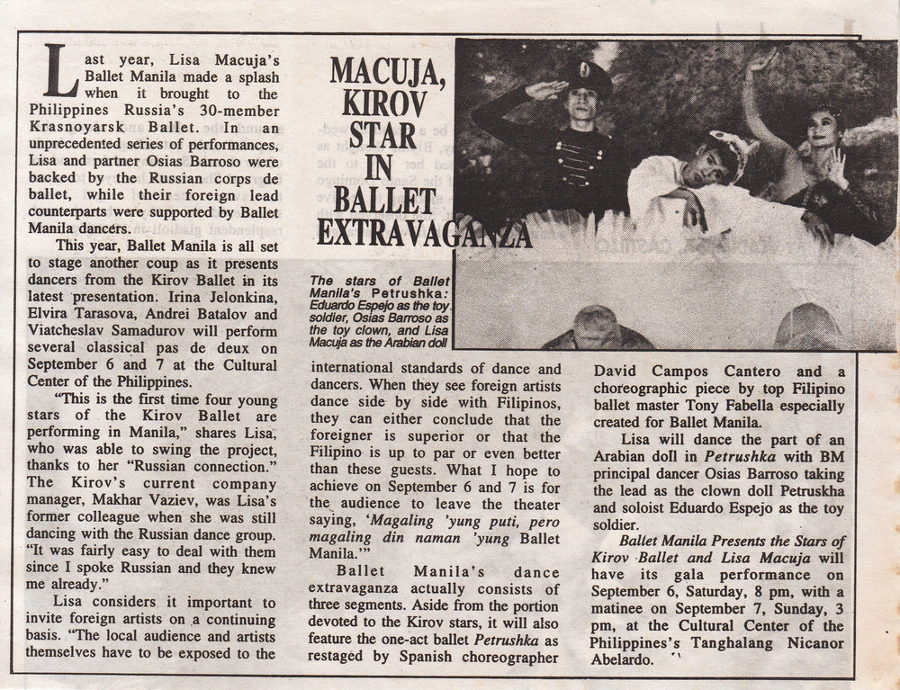 Press release announces Ballet Manila's show featuring dancers from the Kirov and the premiere of two choreographic pieces. Clipping from the Ballet Manila Archives collection