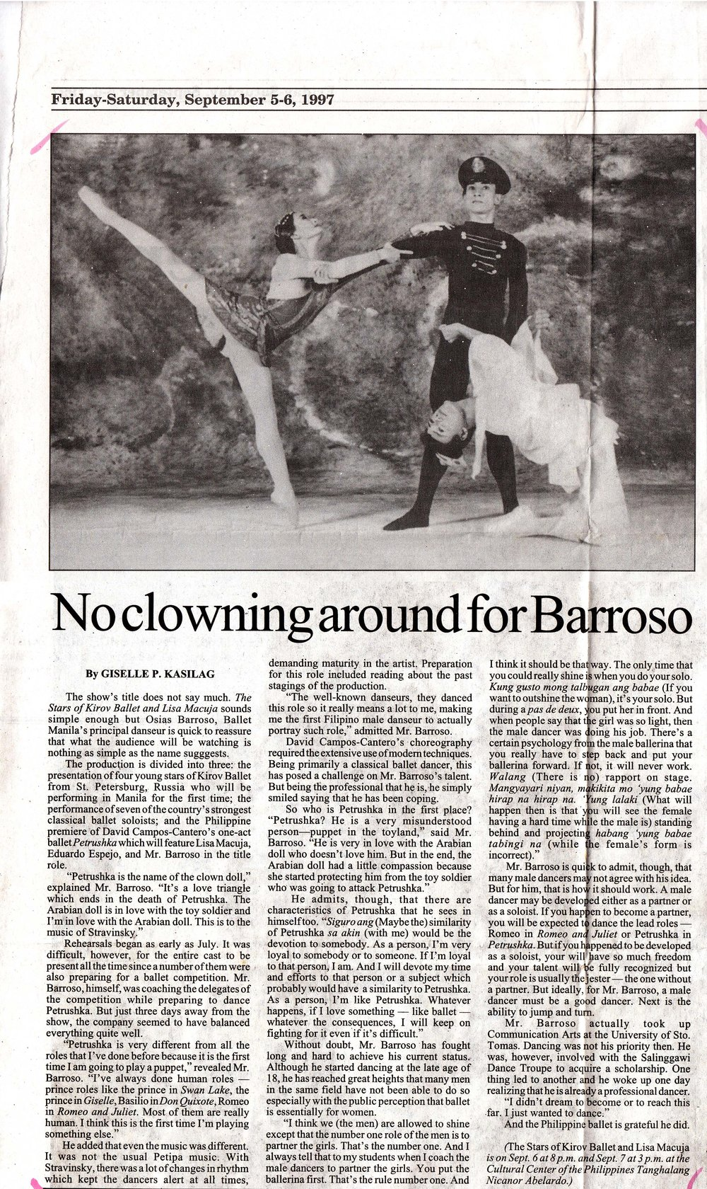 Osias Barroso, a perennial prince on stage, relates what it's like to dance as a puppet for the first time in a story in  BusinessWorld . Clipping from the Ballet Manila Archives collection