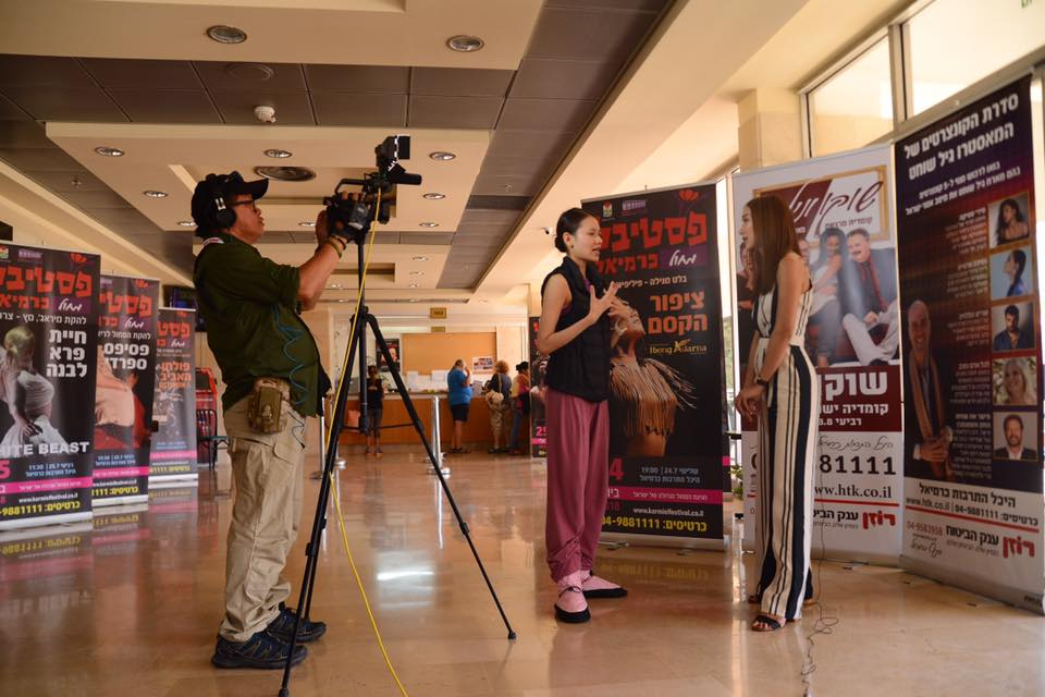 A team from the Manila-based  ANC  interviews Abigail Oliveiro at the theater. Photo by Mark Sumaylo