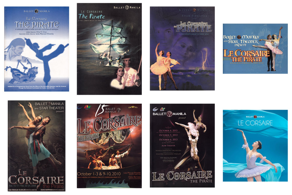 Ballet Manila has now staged  Le Corsaire  eight times – in 1998, 2000, 2002, 2004, 2008, 2010, 2013 and 2018. Souvenir programs and posters of the shows are stored in the Ballet Manila Archives.