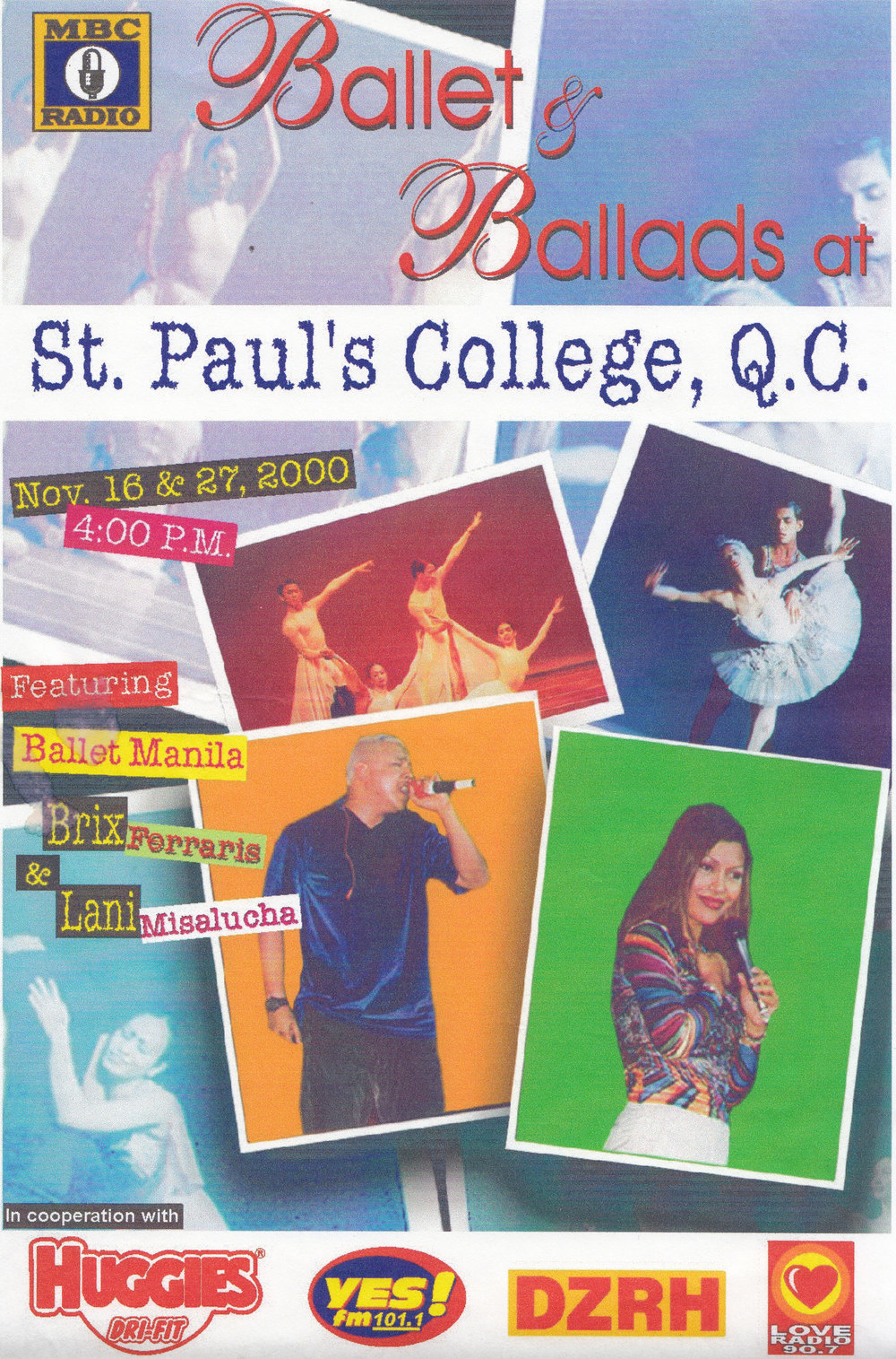 A leaflet for the St. Paul's College stop shows pop singers Lani Misalucha and Brix Ferraris as the featured pop singers. From the Ballet Manila Archives collection