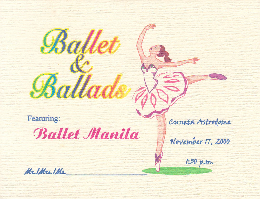 An invitation to the Pamantasan ng Lungsod ng Maynila show held in Cuneta Astrodome. From the Ballet Manila Archives collection