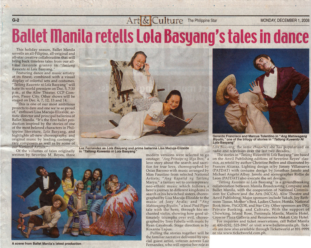 Clipping from the  Philippine Star  details the world premiere of  Tatlong Kuwento ni Lola Basyang . From the Ballet Manila Archives collection