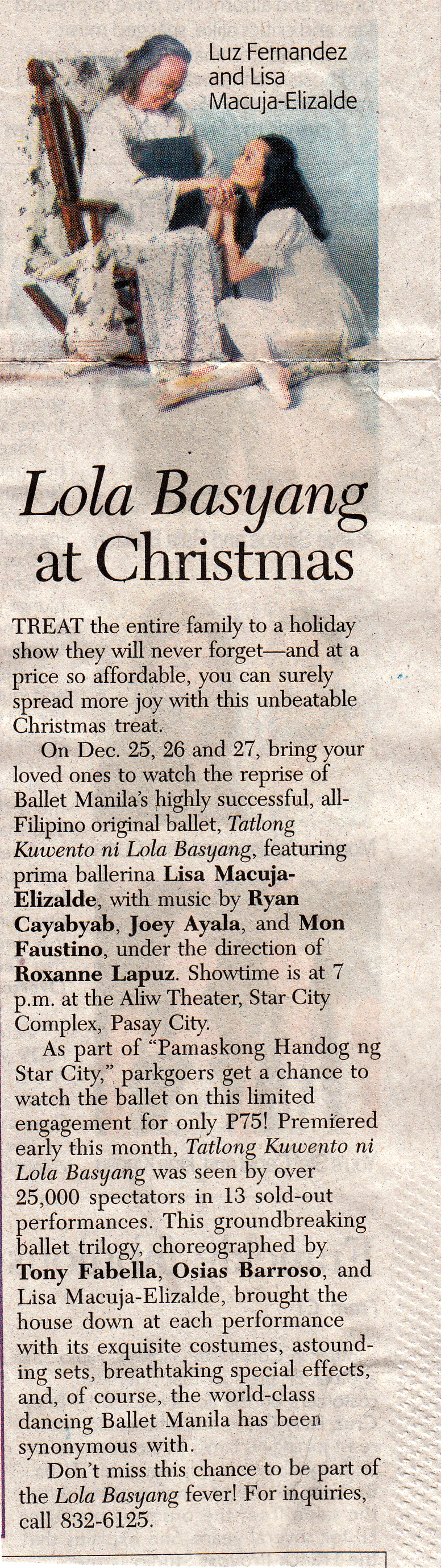 Manila Standard Today  announces a special Christmas run of the  Lola Basyang  production after its sold-out premiere run. From the Ballet Manila Archives collection
