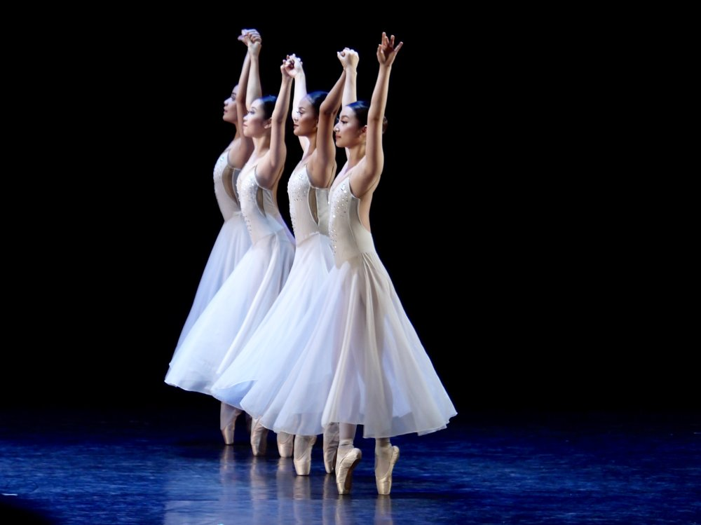 Nanami (rightmost, dancing in  Sotto Voce ) is always on her toes, literally and figuratively, ever alert to learn more about ballet. Photo by Giselle P. Kasilag