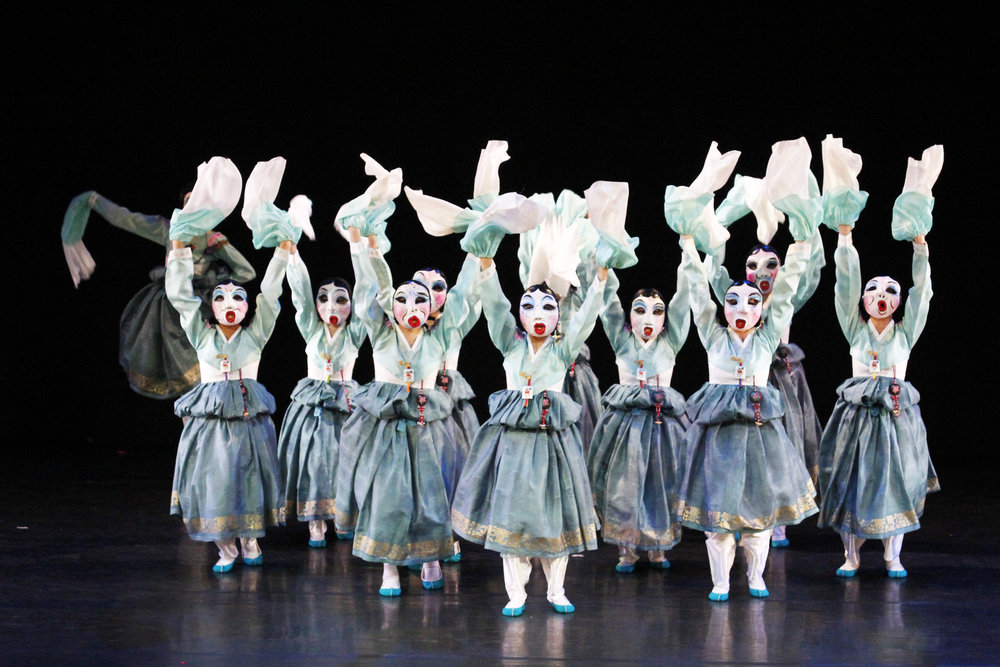 Yewon Dance Company performs the mask dance,  Let's have real fun . Photo by Ocs Alvarez from the Ballet Manila Archives collection