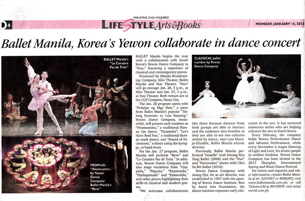 Announcement of Ballet Manila and Yewon Dance Company's joint performance in the  Philippine Daily Inquirer . From the Ballet Manila Archives collection