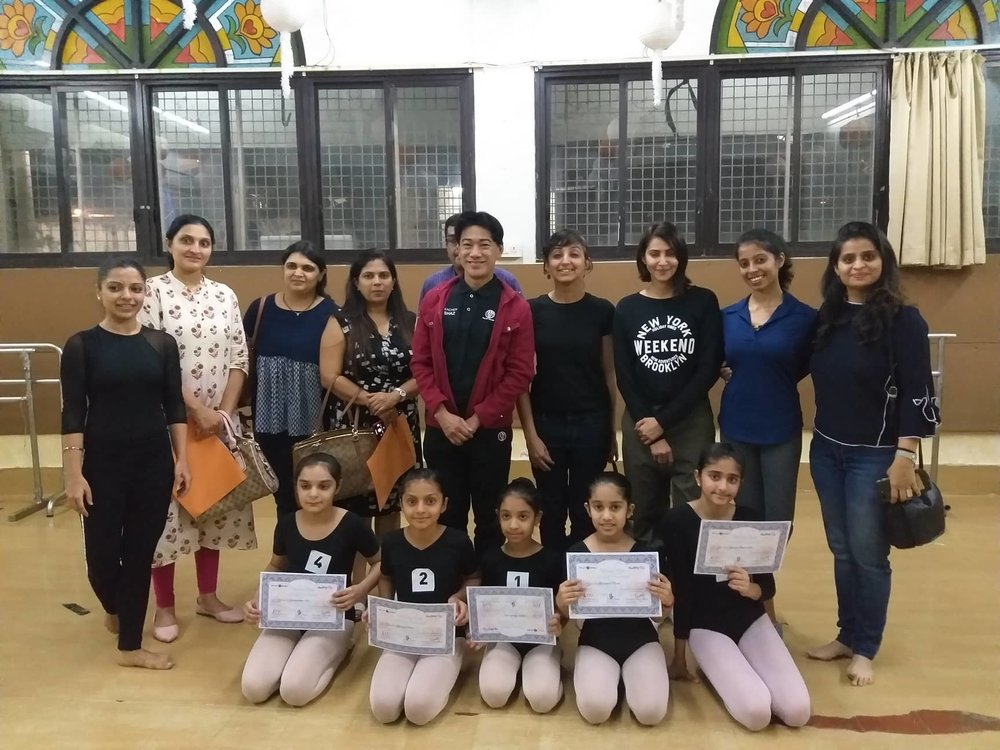 For the fifth year, Osias Barroso (in maroon jacket) conducted ballet classes in Mumbai as part of Ballet Manila's ongoing partnership with Rhythmus Happy Feet, a dance school co-founded by Deepika Ravindran and Swara Patel (standing, second from right and rightmost).
