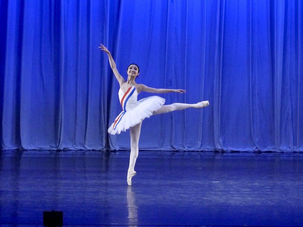 In Ballet Manila's season finale,  Deux , Sayaka gets to dance Flames of Paris (opposite Rafael Perez). Photo by Giselle P. Kasilag