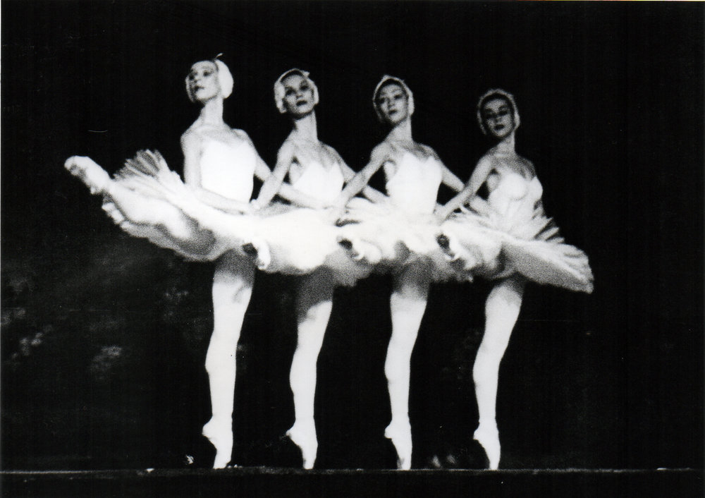 Ballet Manila's Melanie Motus (second from left) and three dancers of Krasnoyarsk Ballet perform as the Cygnets in  Swan Lake . Photo from the Ballet Manila Archives collection