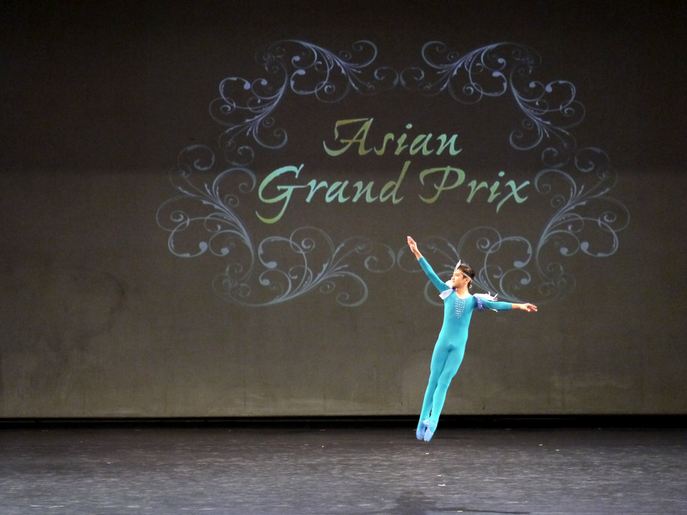 Juan Angelo De Leon, second place, Pre-Competition B, performs the Blue Bird Variation from  Sleeping Beauty.  Photo by Giselle P. Kasilag