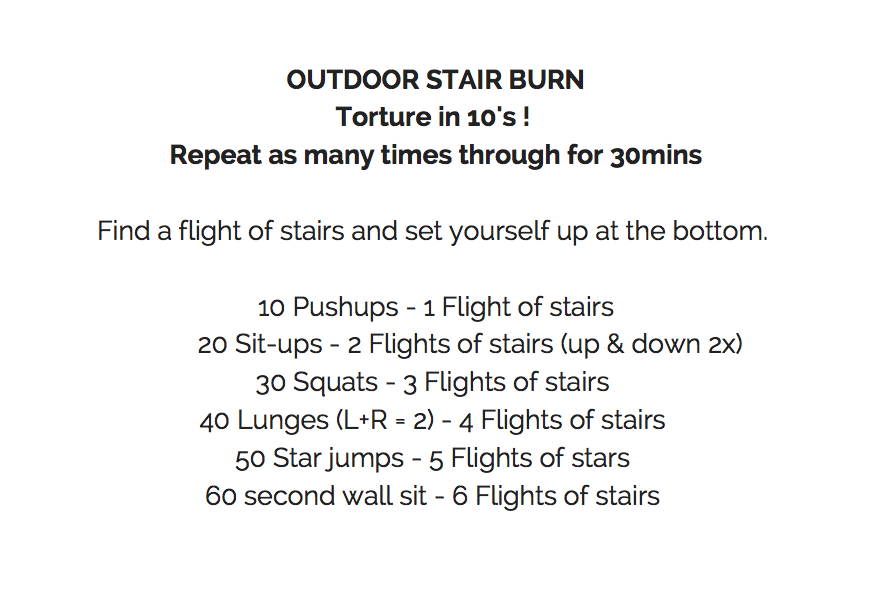 No stairs? Do a sprint instead or Burpees!