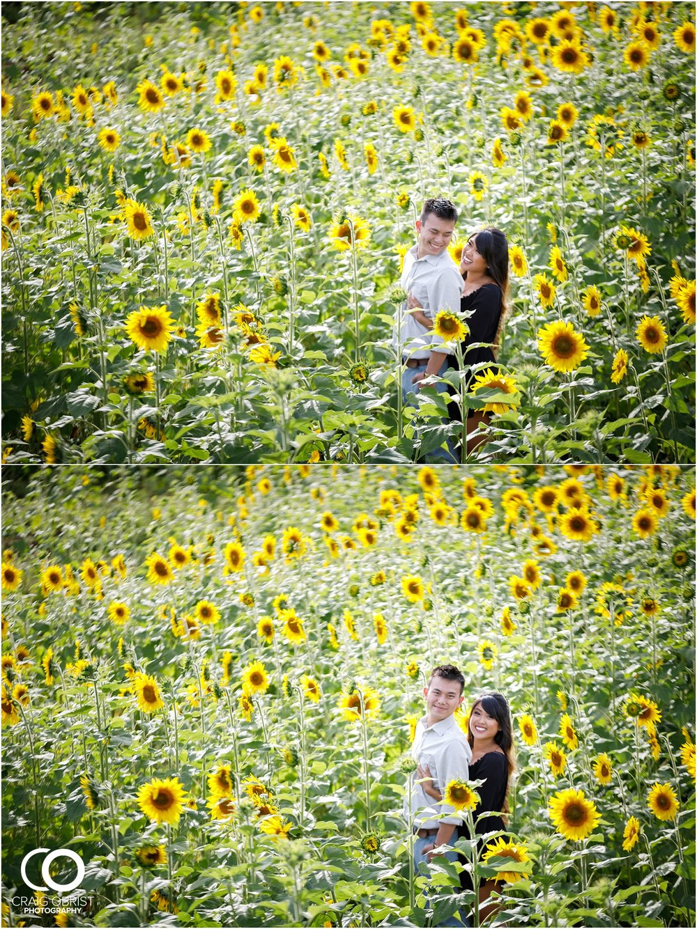 Sunflower field engagement portraits sunset mountains georgia_0007.jpg