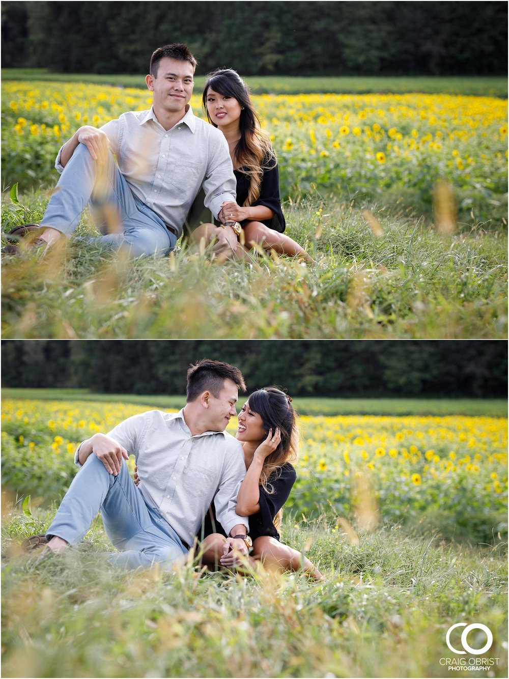 Sunflower field engagement portraits sunset mountains georgia_0016.jpg
