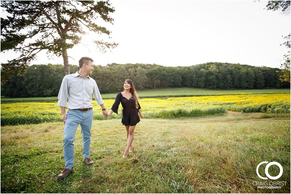 Sunflower field engagement portraits sunset mountains georgia_0022.jpg