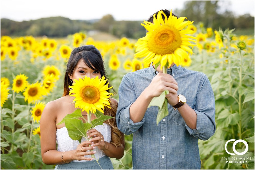 Sunflower field engagement portraits sunset mountains georgia_0033.jpg