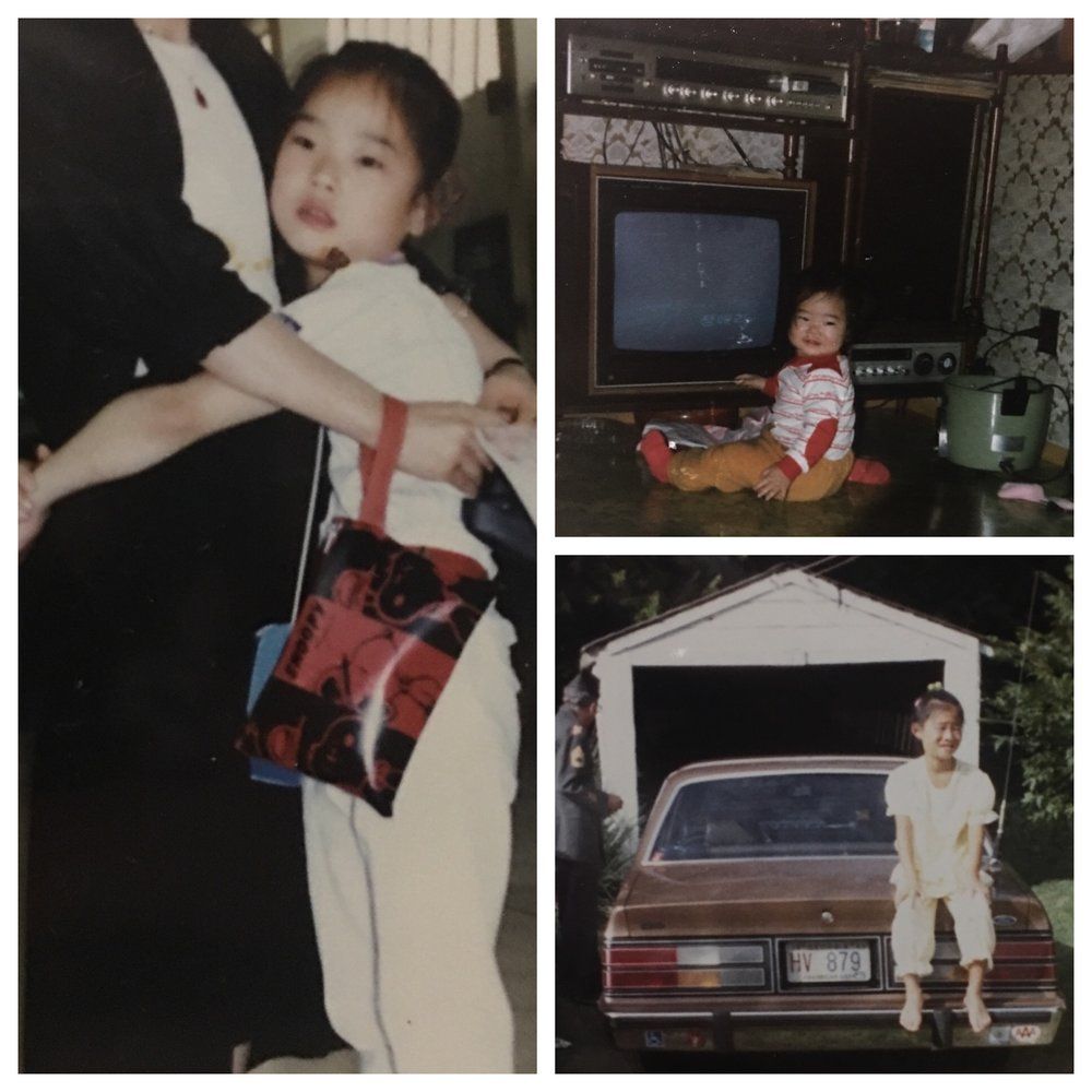 Clockwise - Pic 1 - The day I left South Korea.  I don't look happy in the pic, but I was.  ;)  Pic 2 - When I was a baby looking like a hot mess..  Pic 3 - The day after my first night in America at my grandparent's house in my Korean PJ's.  :)