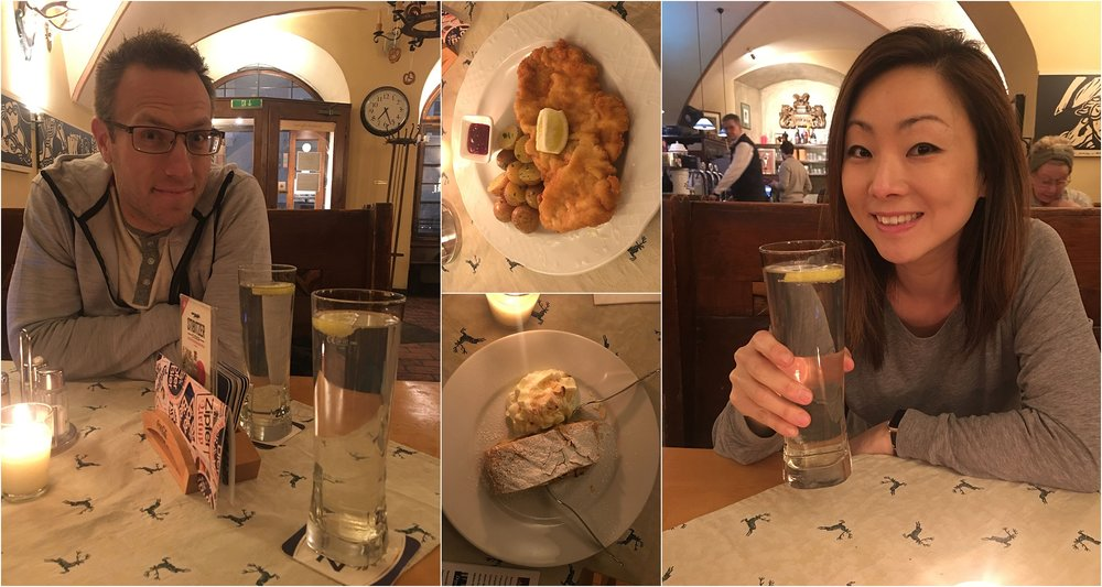 Schnitzel, more strudel and our fav drink - sparkling water with TONS of lemon juice.