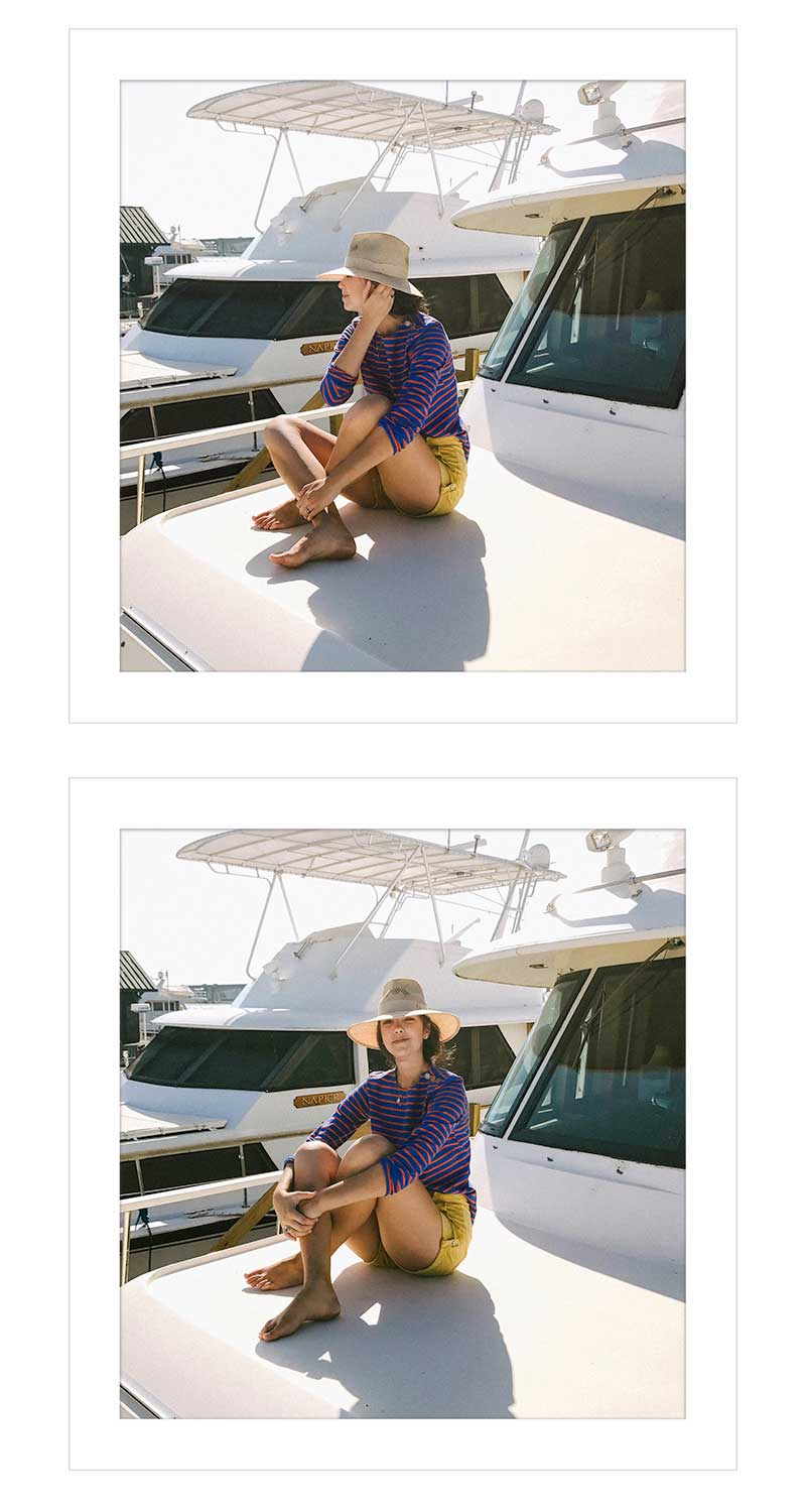 Shirt by Tory Burch ( similar ) | Hat by Preston & Olivia ( similar )