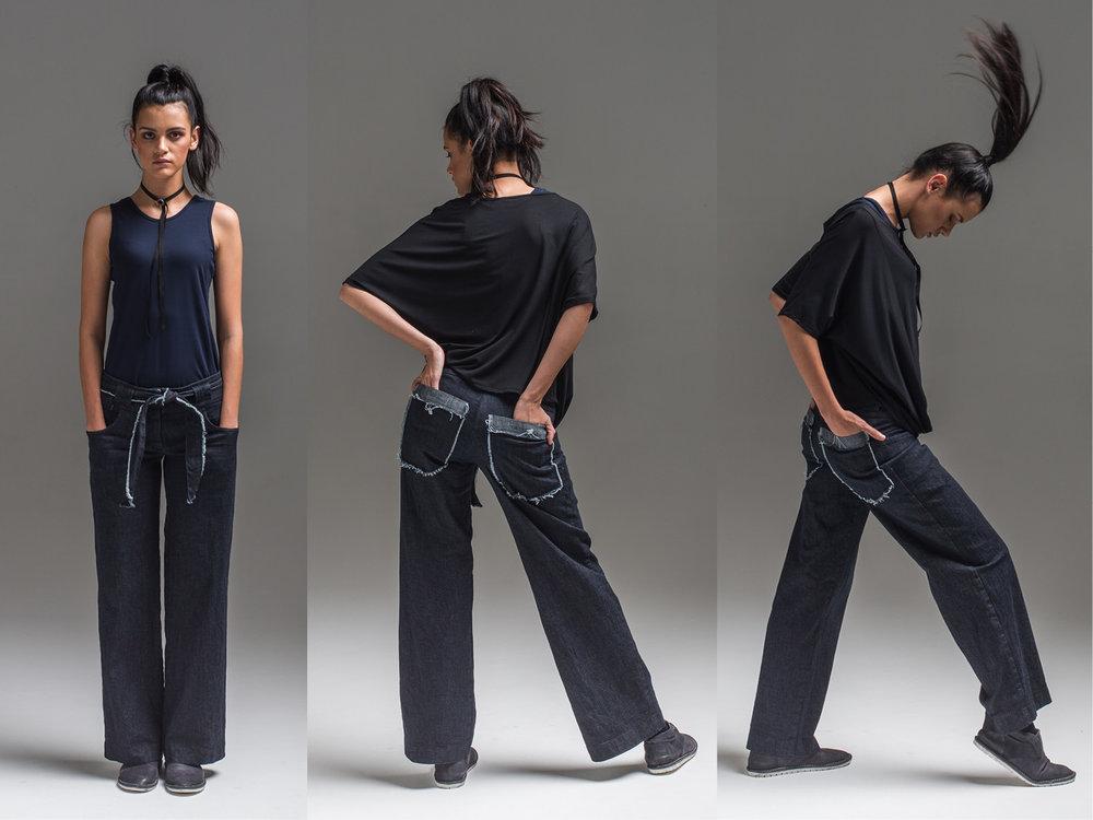 L: Obsidian top + Samira pant M+R: Obsidian top, Di top + Samira pant