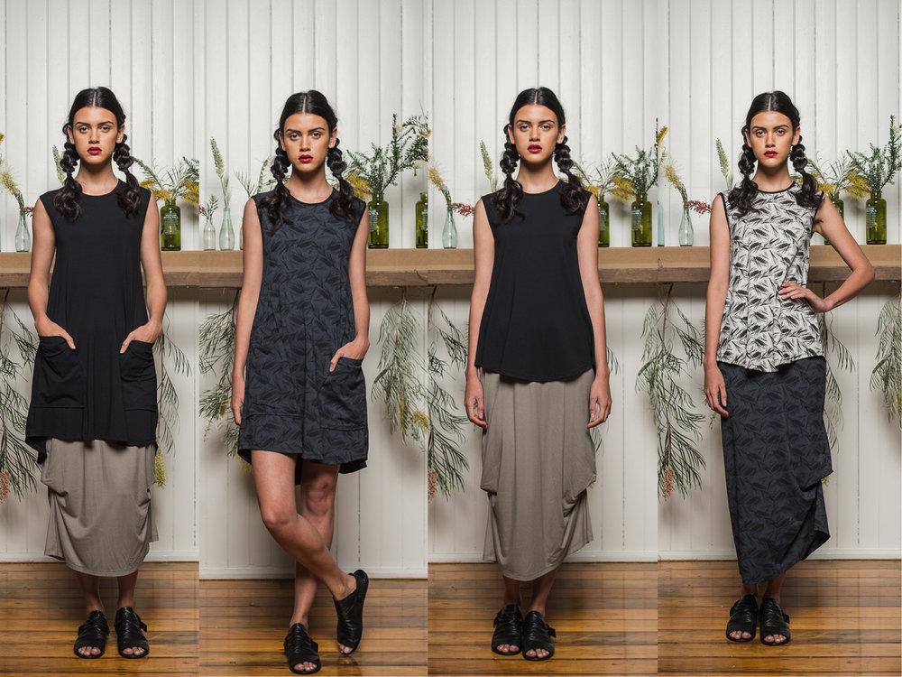LEFT: Nancy dress + Thea skirt CENTRE LEFT: Nancy dress CENTRE RIGHT: Nancy top + Thea skirt RIGHT: Nancy top + Thea skirt