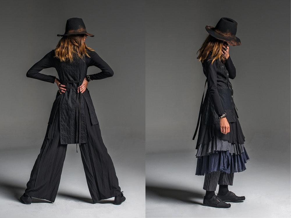 LEFT: Weaver pant, Multitude top, Mysteria vest  RIGHT: Rambler pants, Enigma skirt, Multitude top, Mysteria vest
