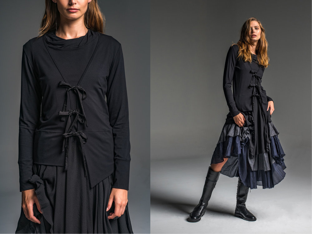 Subtle top, Rosa cardi, Enigma skirt
