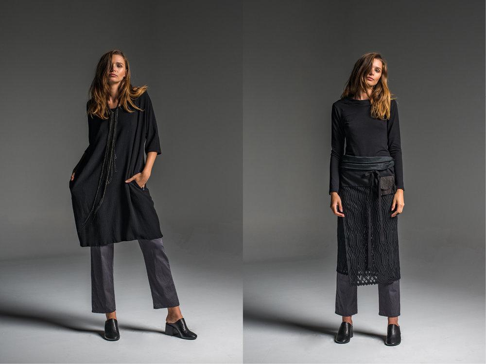LEFT: Rambler pants, Avril dress  RIGHT: Subtle top, Rambler pants, Milk wrap