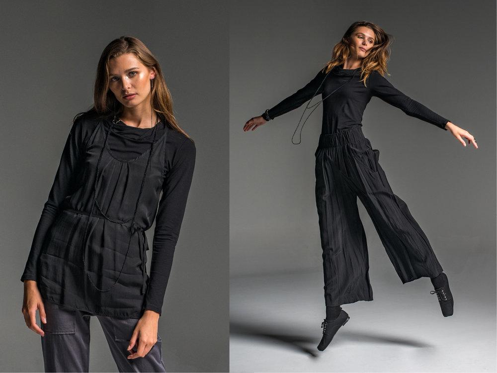 LEFT: Subtle top, Rambler pants, Mirage top  RIGHT: Subtle top, Weaver pants