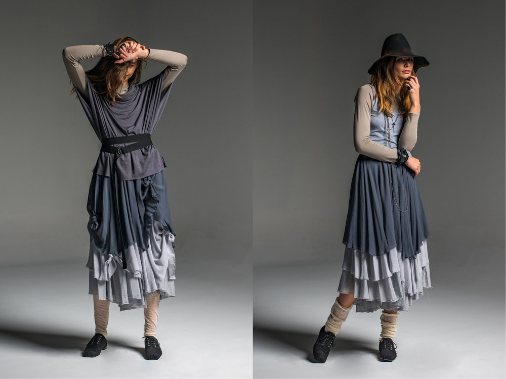 LEFT: Multitude top, Spinner top, Enigma skirt  RIGHT: Multitude top, Greta singlet, Enigma skirt