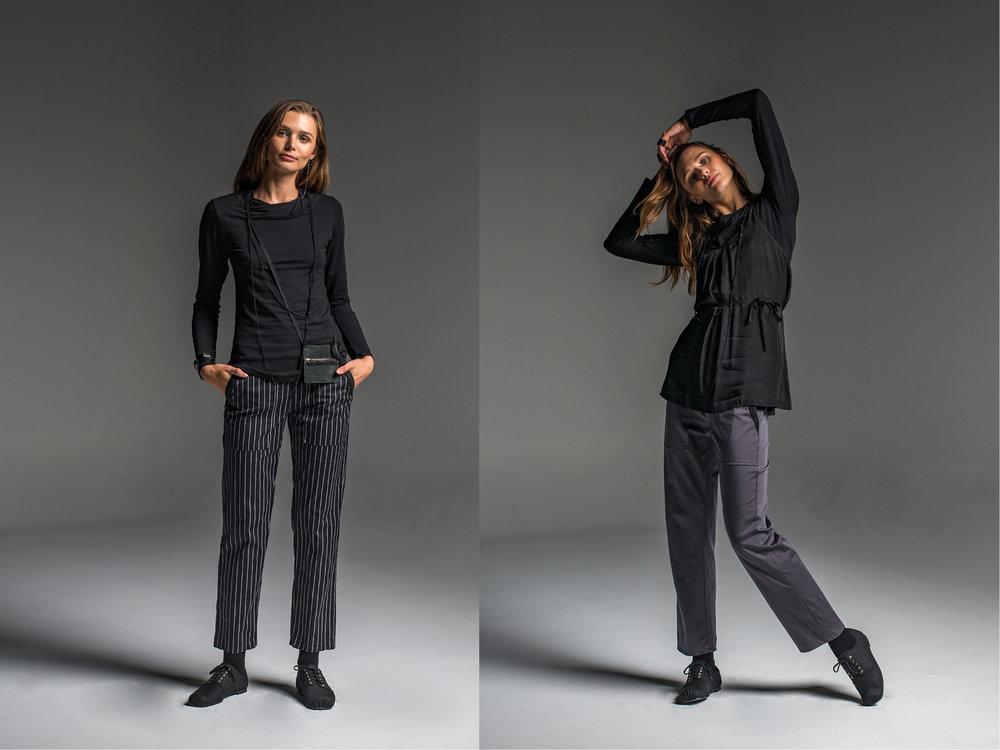 LEFT: Subtle top, Rambler pants  RIGHT: Subtle top, Rambler pants, Mirage top