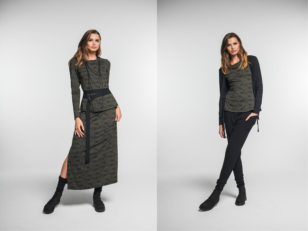 LEFT: Subtle top, Emma skirt  RIGHT: Subtle top, Rosa cardi, Nellie pants