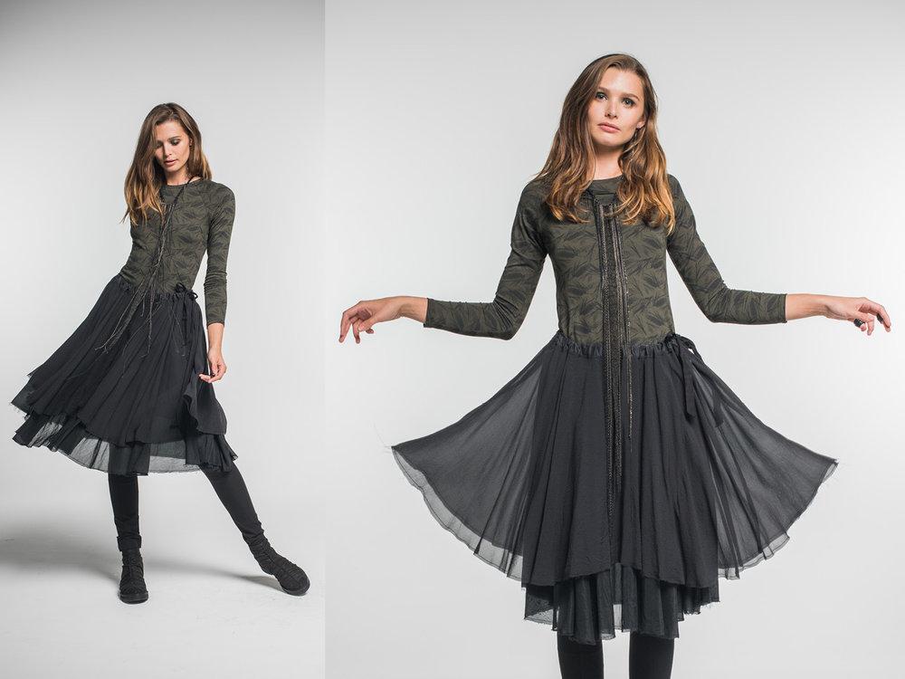 Multitude top, Jana pants, Enigma skirt