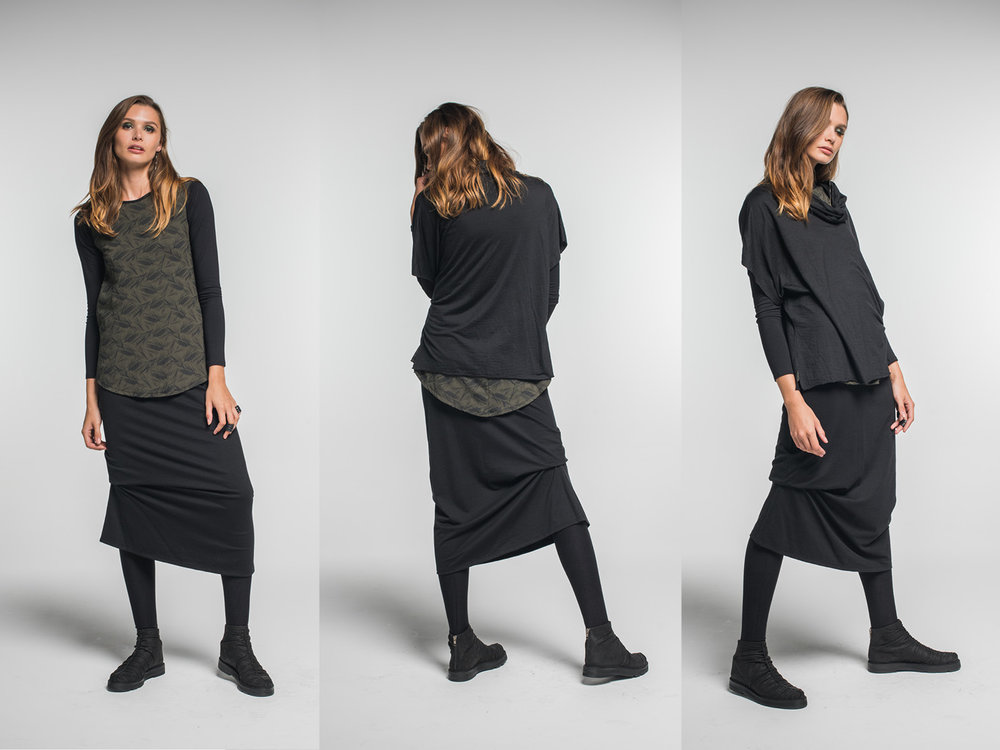 LEFT: Multitude top, Nancy top, Wool Thea skirt, Lanky legs  CENTRE & RIGHT: added Spinner top