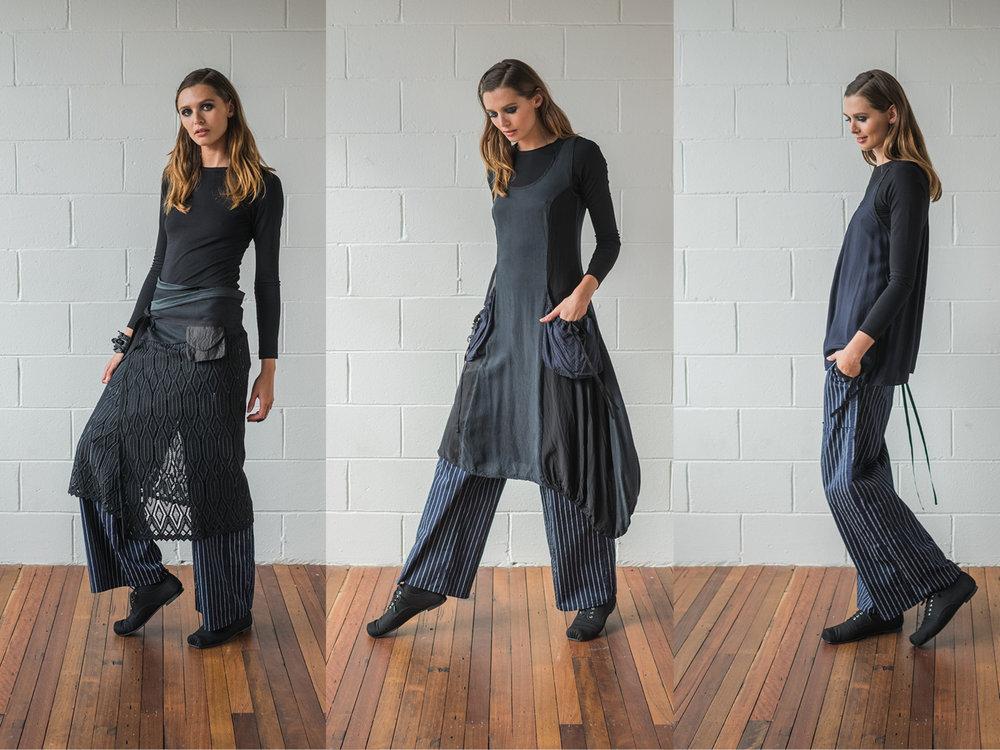 LEFT: Multitude top, Helen pants, Milk wrap  CENTRE: Multitude top, Helen pants, Rogue dress  RIGHT: Multitude top, Helen pants, Mirage top