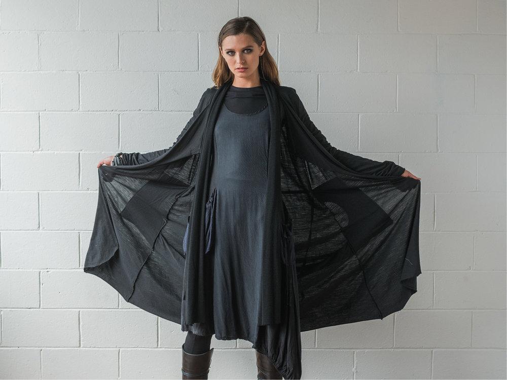Multitude top, Lanky legs, Rogue dress, Facade coat
