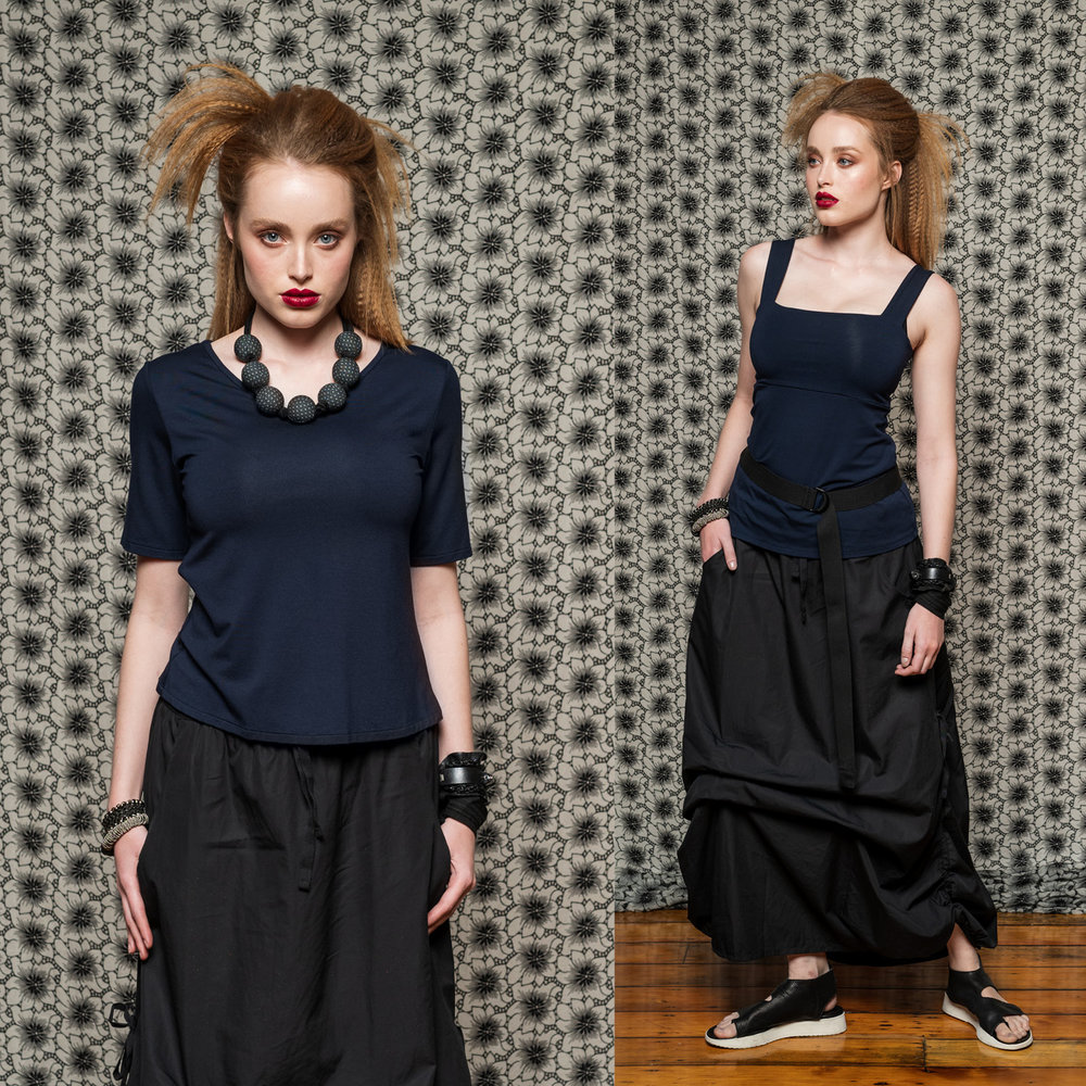 LEFT: Viola Tee & Marmalade Skirt  RIGHT: Eternal Top & Marmalade Skirt