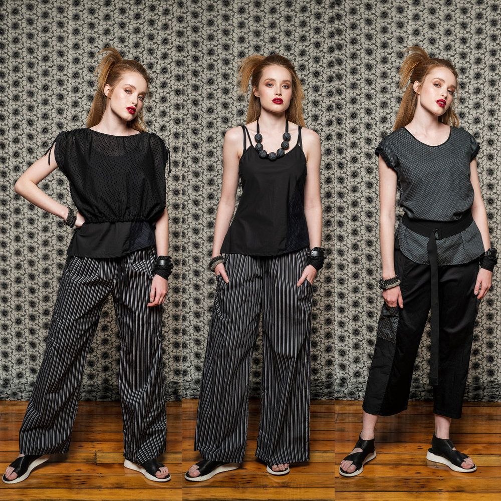 LEFT: Chamomile Top, Esker Top & Honey Gem Pant  CENTRE: Esker Top & Honey Gem Pant  RIGHT: Moonlight Top & Montage Pant