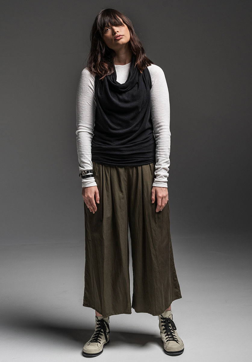 Antidote top, Honeysuckle shrug (worn as cowl top) + Grove pant