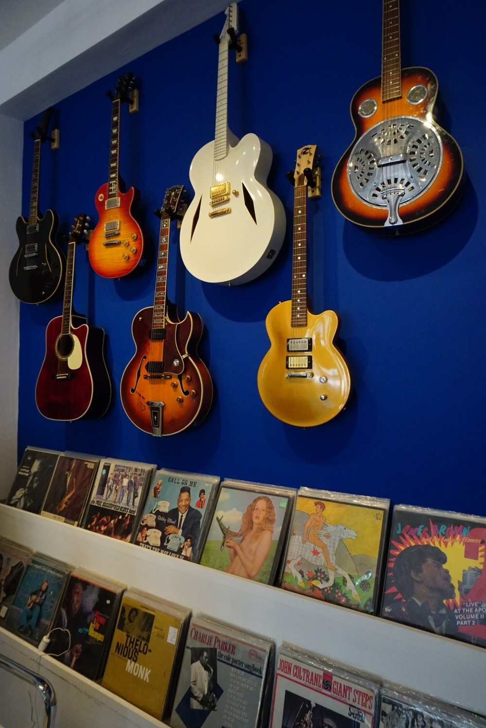 guitars & records wall